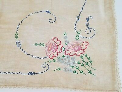 Small Vintage Tablecloth Hand Embroidered Floral Design Crocheted Edge