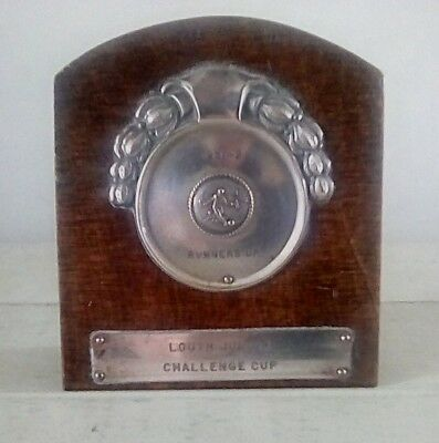 Vintage football trophy plaque/shield, trophy, football, Lincolnshire, antique