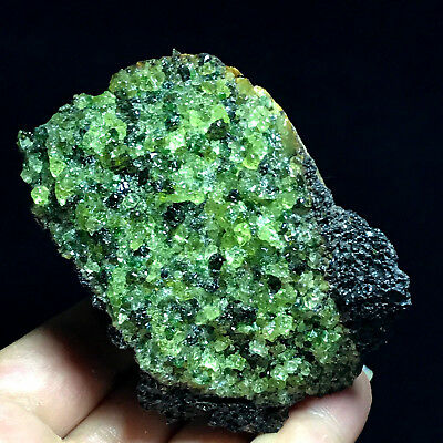 255.5gNatural - green peridot & volcanic rock - mineral specimen - from China