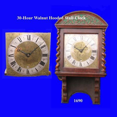 King James II Walnut 30-Hour Hooded Wall 30-Hour Brass Dial Clock 1680
