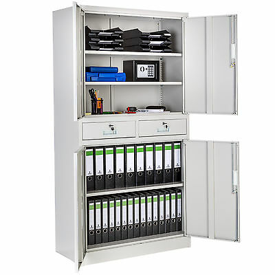 Office storage cupboard metal 2 drawers filing cabinet furniture 180x90x40cm