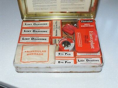 VINTAGE 1950/60s METAL FIRST AID CASE BOX WITH FULL CONTENTS