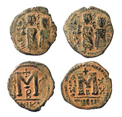 Lot of two Byzantine Phocas Folles Contemporary imitation Sasanian occupation