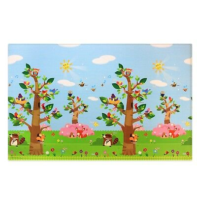 Large Baby Play Mat Baby Care Reversible Waterproof Hygienic Birds in Trees