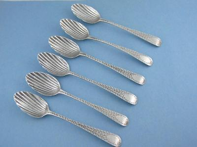 6 George III Silver shell shaped Spoons LONDON c1801 w. engraved handles