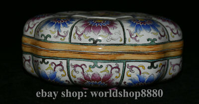 """8"""" Marked Old Chinese Famille Rose Porcelain Dynasty Palace lotus Flower lid Box"""