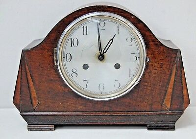Vintage Art Deco Haller Oak Case Mantel Clock In Oak Case