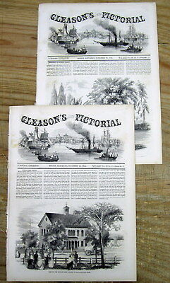 2 1852 illustrated newspapers w ESSAY & early VIEWS of NEWBURYPORT Massachusetts