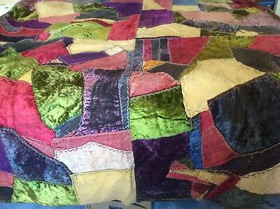 Antique Crazy Quilt Section Embroidered Stitching