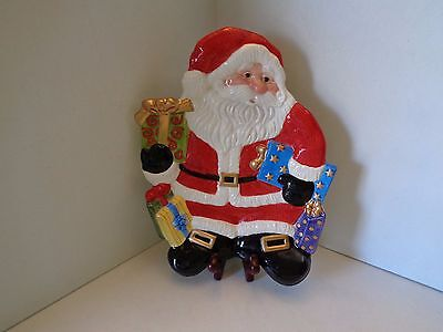 New in Box Fitz & Floyd Happy Holidays Christmas Santa Canape Cookie Plate
