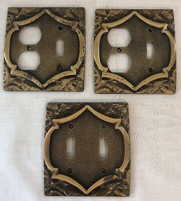 Vintage Set Of 3 Amerock Monterey Brass Outlet Switch Plate Cover Single Double