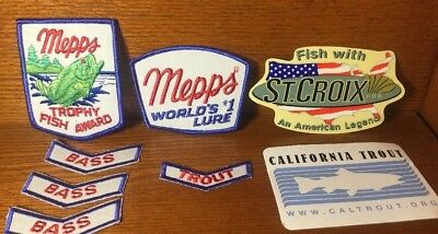 Lot of Vintage MEPPS FISHING LURES Embroidered Patches Fish ST. CROIX Sticker