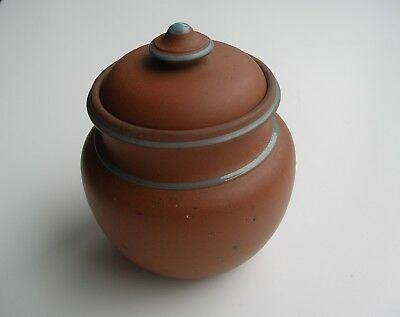 Victorian Unmarked Terracotta Enamel Decorated Turned Lidded Pot