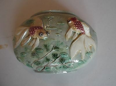 Wall Pocket 50's semi-circular glazed gold fishes in fish bowl