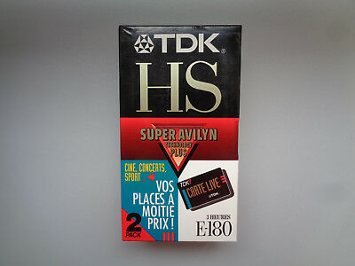 2-Pack Cassette Video Vierge TDK HS E-180 pour Magnetoscope - K7 VHS Neuf