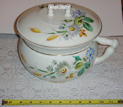 Old Victorian Chamber Pot Hand Painted Wheat & Flowers & Lid
