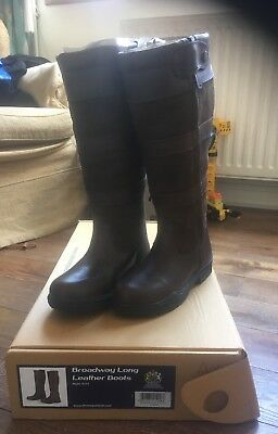 Equestrian, Shires Broadway Long Leather Boots, Brown,Size 4, Extra Wide, New