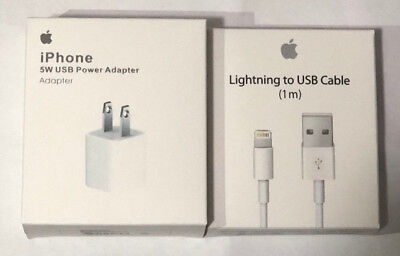 Genuine Original OEM Apple iphone Wall Charger Cube Lightning USB Cable 5/6/s/7