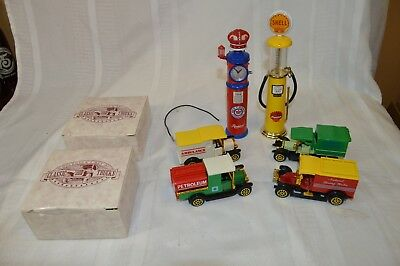 Miniature Shell Gas Pump, Red Crown Gasoline Pump and Four Classic Trucks