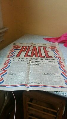 Aug. 15, 1945 Peace Headlines of the Cleveland Press front page WW2 World War 2