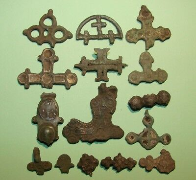 Fragments Of Ancient Crosses Period Of Late Middle Ages. Bronze. Original.