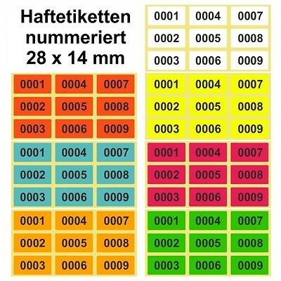 Labels/Sticker on Roll - Continuously Numbered - 28 x 14