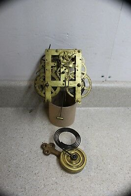 Signed F Kroeber 8 Day T&S Cottage Clock Movement and Gong with Base