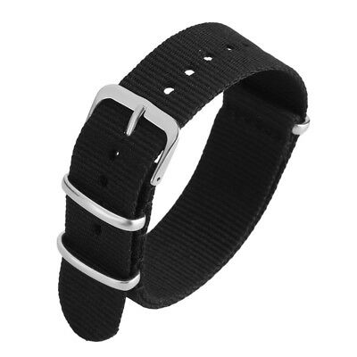 20mm 22mm Nylon Fabric Canvas Watch Band Strap Black Replacement Wristbands