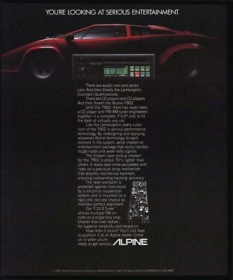 1986 LAMBORGHINI Red Sports Car - ALPINE 7902 Car Stereo w/ CD Player VINTAGE AD