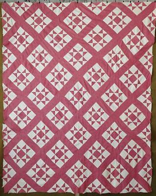 EARLY c1880 Antique Double Pink & White Ohio Star QUILT TOP 77x63 Handpieced