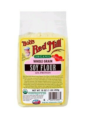 Bob's Red Mill Organic Soy Flour 16 oz (453 g) Pkg 35% Protein Baking Cooking