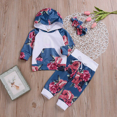 Newborn Infant Baby Boy Girl Soft Floral Tops Hoodie Pant Outfit 3Pc Set Clothes