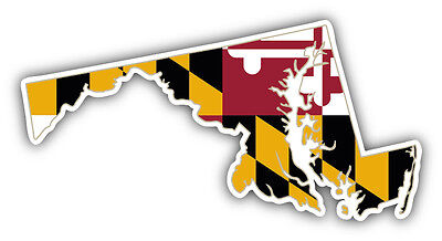 Maryland USA State Map Flag Car Bumper Sticker Decal 6'' x 3''