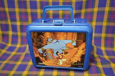 Vtg Disney ALADDIN Spectled Blue Plastic Lunch Box & Thermos-Aladdin Industries