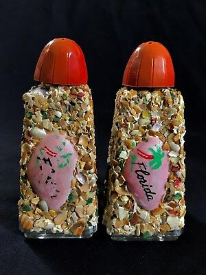 Shell  Encrusted Salt And Pepper Shakers Vintage Kitsch Florida Souvenirs, NR!