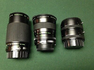 Makinon 80-200 f4.5 and 28-80 f3.5 macro zooms, and 2x converter for Nikon