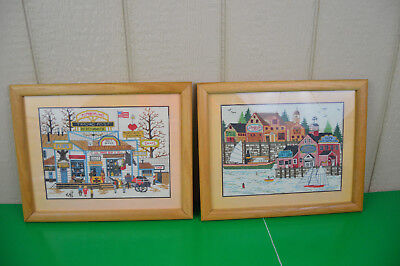 2 Completed Cross Stitch Charles Wysocki Harbor Life Trading Post Framed