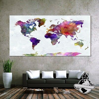 Huge large Banner Canvas Earth Watercolor World Map Classic Print Wall Poster