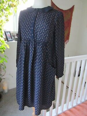 Mamas & Papas Maternity Size 10 Navy & Camel Lined Dress Excellent condition.