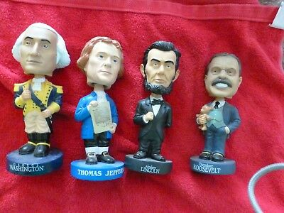 """Four U.S. PRESIDENTS BOBBLEHEADS.""""MOUNT RUSHMORE"""" GROUP WASH LINCOLN  TJ  & TR"""