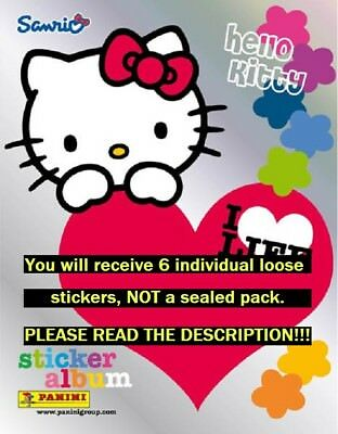 Six (6) Hello Kitty I Love Life Panini Collection Stickers