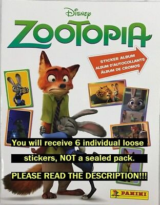 Six (6) Zootopia Panini Collection Stickers