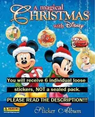 Six (6) Magical Christmas With Disney Panini Collection Stickers