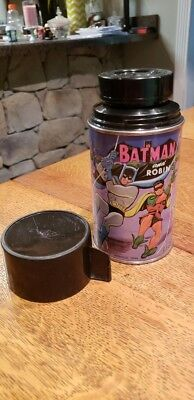 Vintage Batman and Robin Lunchbox Thermos Rare Good Condition! 1966