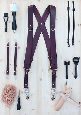 Dual Multi Camera Burgundy Leather Harness Shoulder Strap Handmade in England