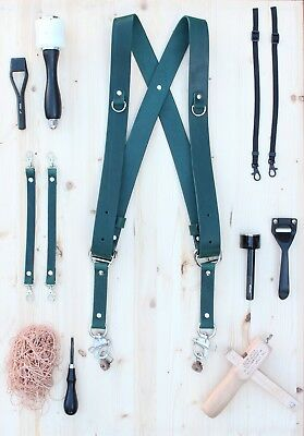 Dual Multi Camera Green Leather Harness Shoulder Strap Handmade in England