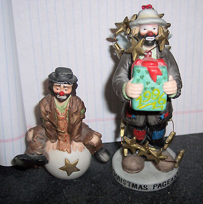 2 Emmett Kelly Figurines ( Christmas Ornament and One He is Sitting on a Ball)