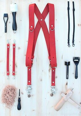 Dual Multi Camera Red Leather Harness Shoulder Strap Handmade in England