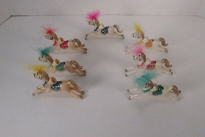 7 Vintage Miniature Christmas Light Covers Hand Painted Merry-Go-Round Horses