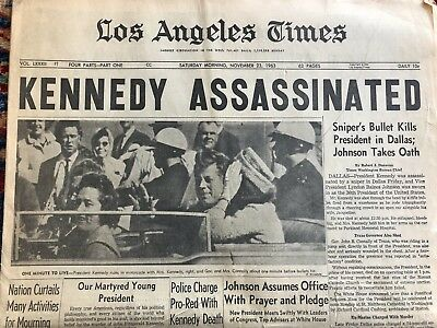 Los Angeles Times Newspaper ~ Saturday November 23 1963 ~ KENNEDY ASSASSINATED